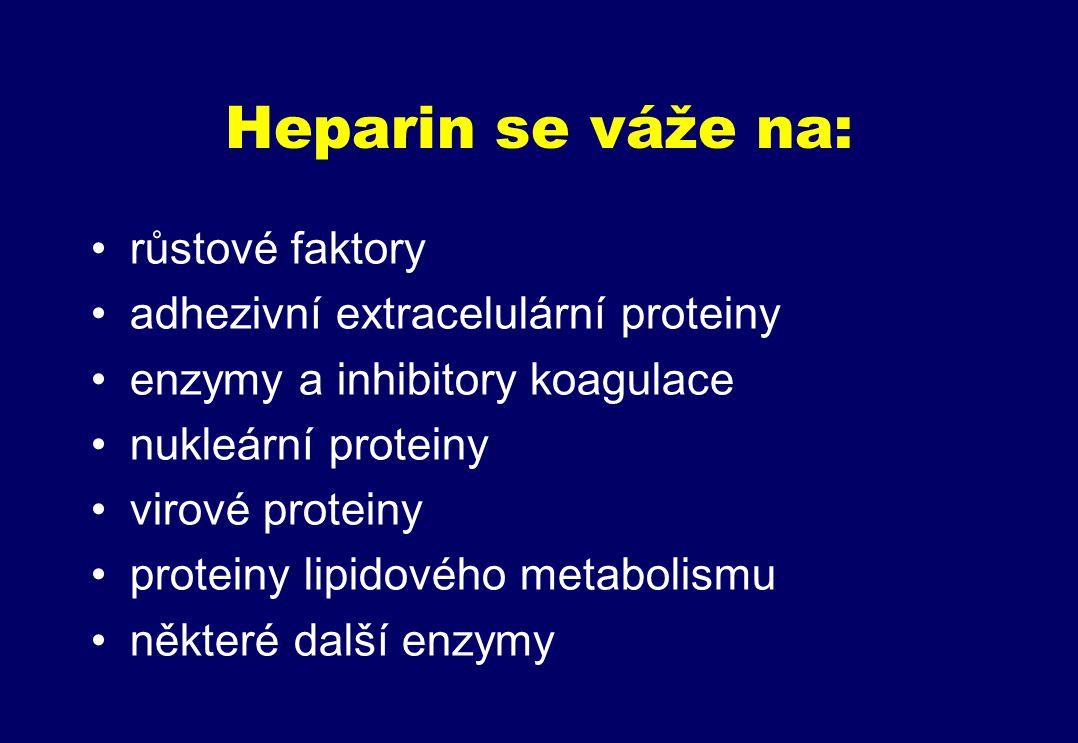 Heparin se váže na: růstové faktory adhezivní extracelulární proteiny enzymy a inhibitory koagulace nukleární proteiny virové proteiny proteiny lipidového metabolismu některé další enzymy