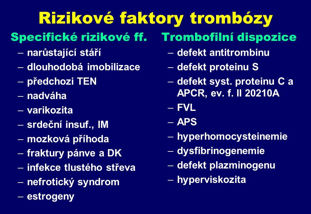 Rizikové faktory trombózy Specifické rizikové ff.