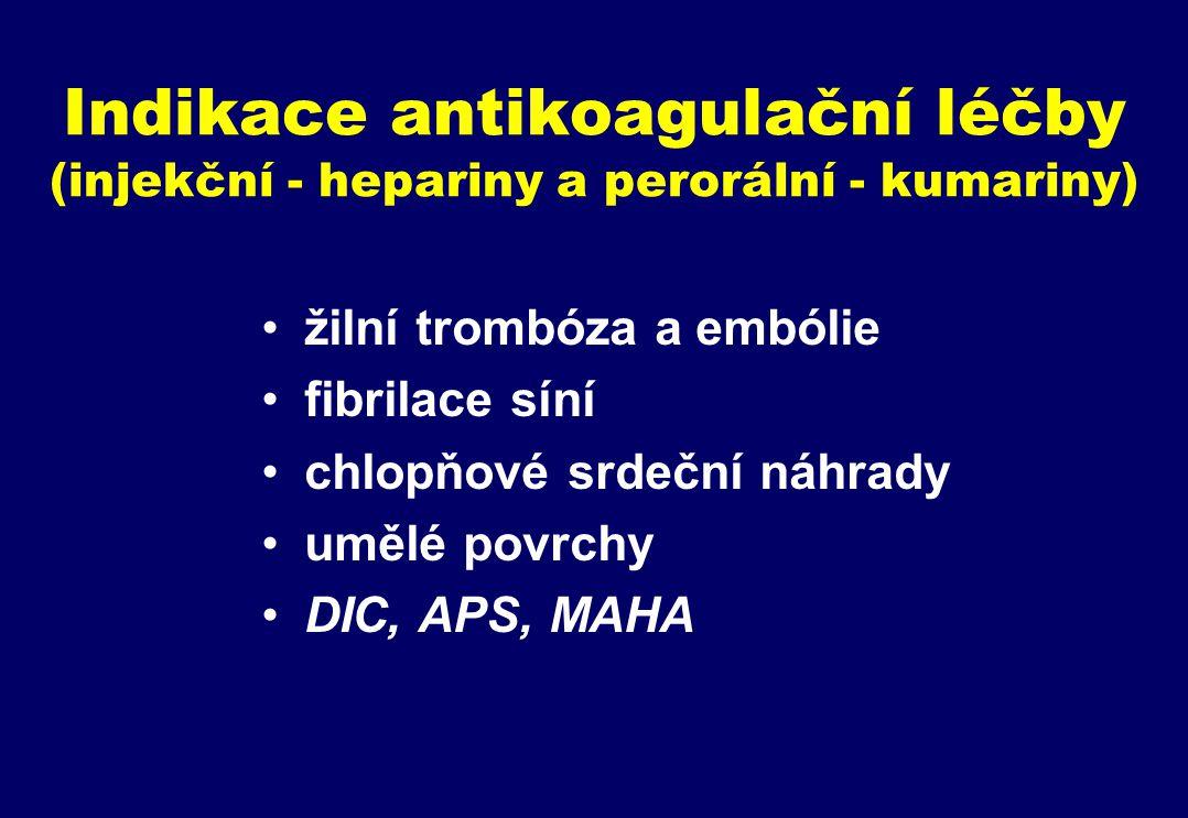 Indikace antikoagulační léčby (injekční - hepariny a perorální - kumariny) žilní trombóza a embólie fibrilace síní chlopňové srdeční náhrady umělé povrchy DIC, APS, MAHA