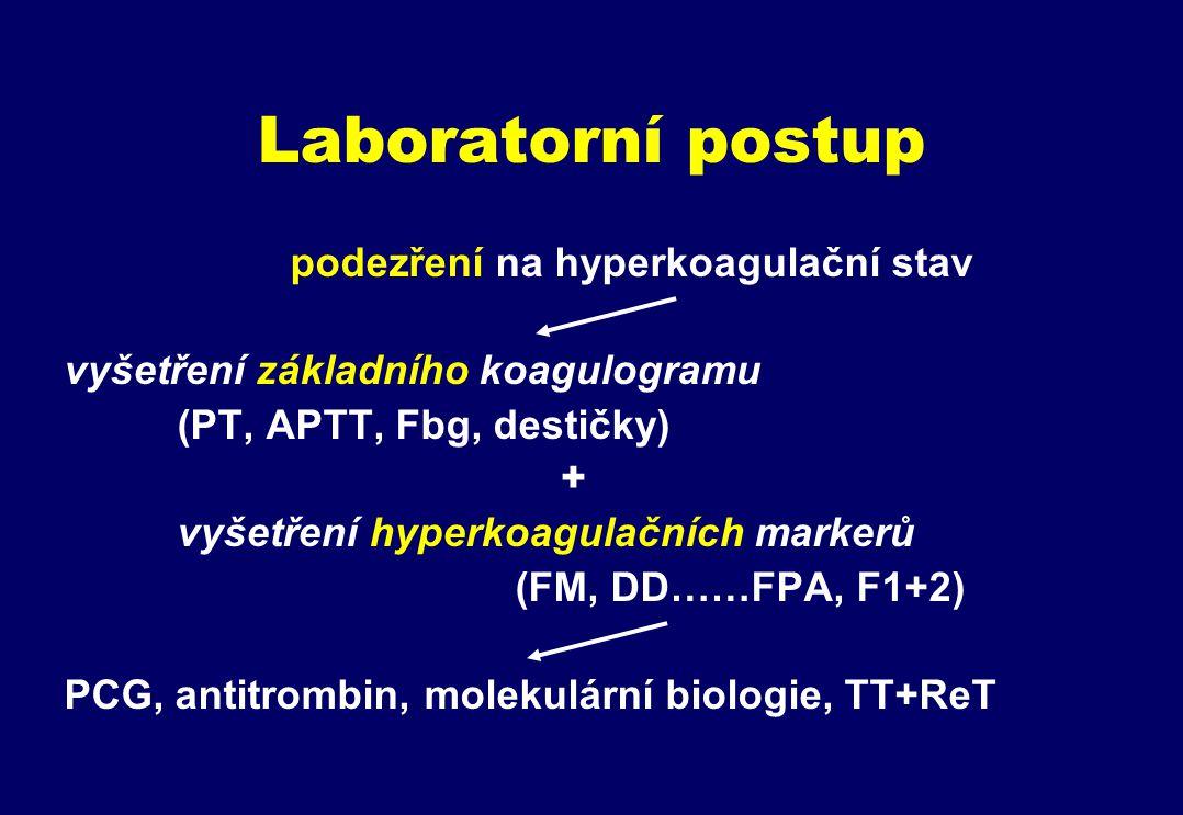 Laboratorní postup podezření na hyperkoagulační stav vyšetření základního koagulogramu (PT, APTT, Fbg, destičky) + vyšetření hyperkoagulačních markerů (FM, DD……FPA, F1+2) PCG, antitrombin, molekulární biologie, TT+ReT