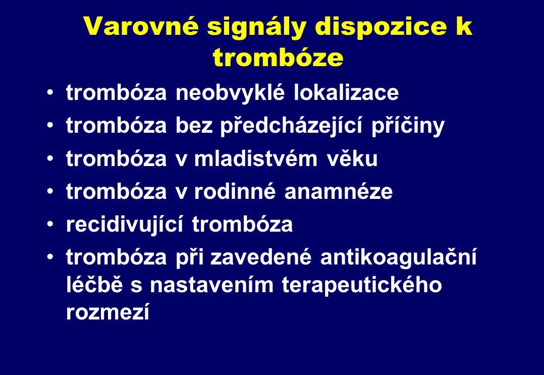 Varovné signály dispozice k trombóze trombóza neobvyklé lokalizace trombóza bez předcházející příčiny trombóza v mladistvém věku trombóza v rodinné anamnéze recidivující trombóza trombóza při zavedené antikoagulační léčbě s nastavením terapeutického rozmezí
