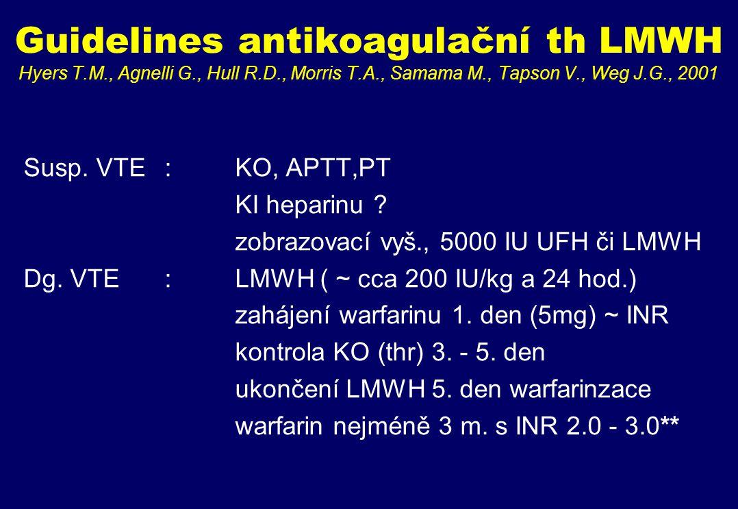 Guidelines antikoagulační th LMWH Hyers T.M., Agnelli G., Hull R.D., Morris T.A., Samama M., Tapson V., Weg J.G., 2001 Susp.