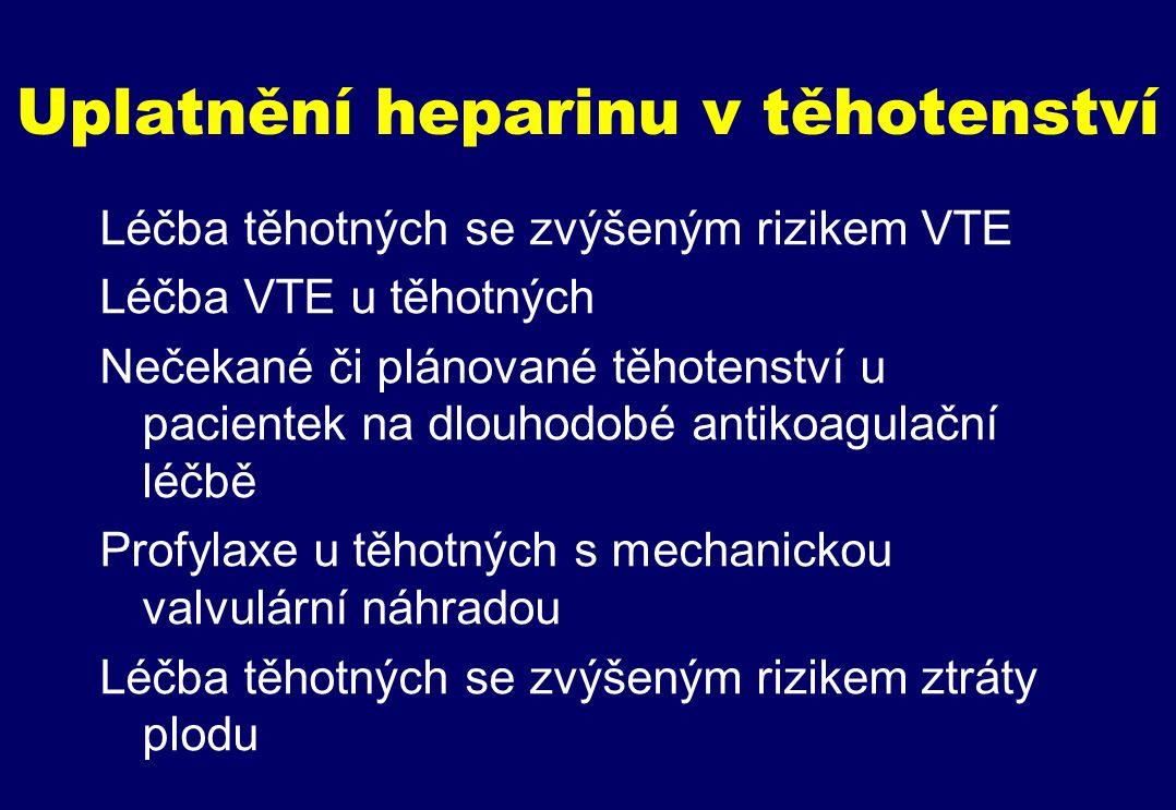 Uplatnění heparinu v těhotenství Léčba těhotných se zvýšeným rizikem VTE Léčba VTE u těhotných Nečekané či plánované těhotenství u pacientek na dlouhodobé antikoagulační léčbě Profylaxe u těhotných s mechanickou valvulární náhradou Léčba těhotných se zvýšeným rizikem ztráty plodu