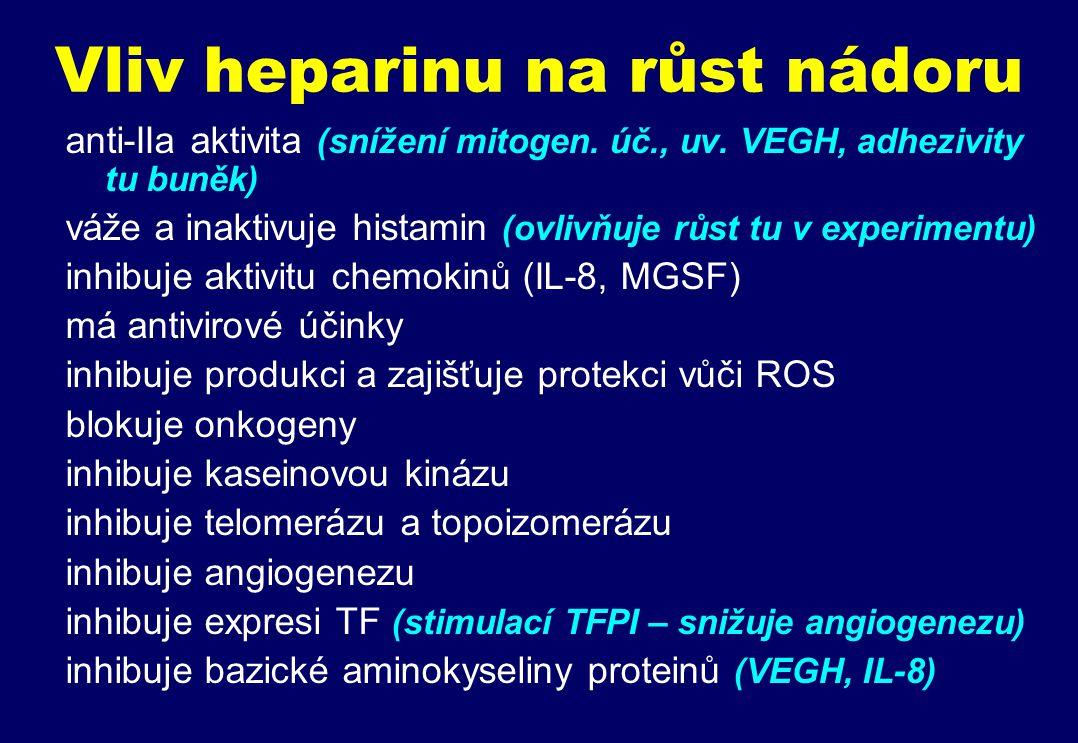 Vliv heparinu na růst nádoru anti-IIa aktivita (snížení mitogen.
