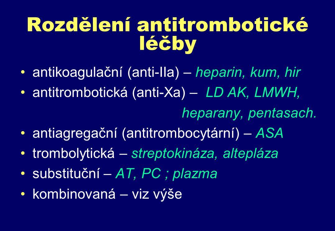 Rozdělení antitrombotické léčby antikoagulační (anti-IIa) – heparin, kum, hir antitrombotická (anti-Xa) – LD AK, LMWH, heparany, pentasach.