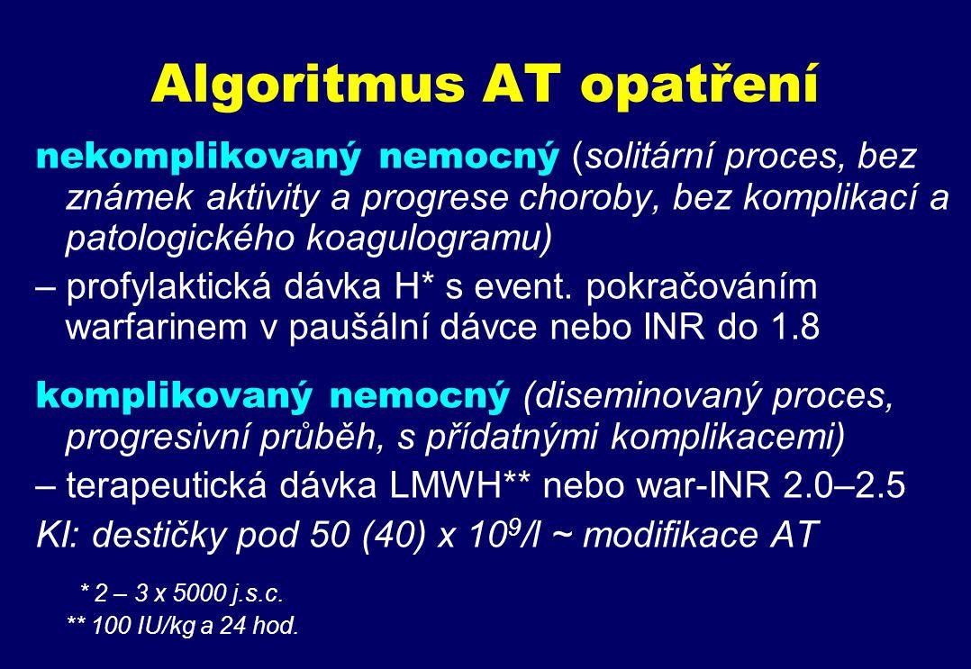 Algoritmus AT opatření nekomplikovaný nemocný (solitární proces, bez známek aktivity a progrese choroby, bez komplikací a patologického koagulogramu) – profylaktická dávka H* s event.