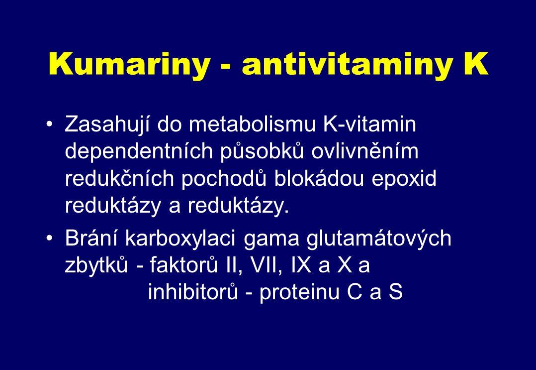 Kumariny - antivitaminy K Zasahují do metabolismu K-vitamin dependentních působků ovlivněním redukčních pochodů blokádou epoxid reduktázy a reduktázy.