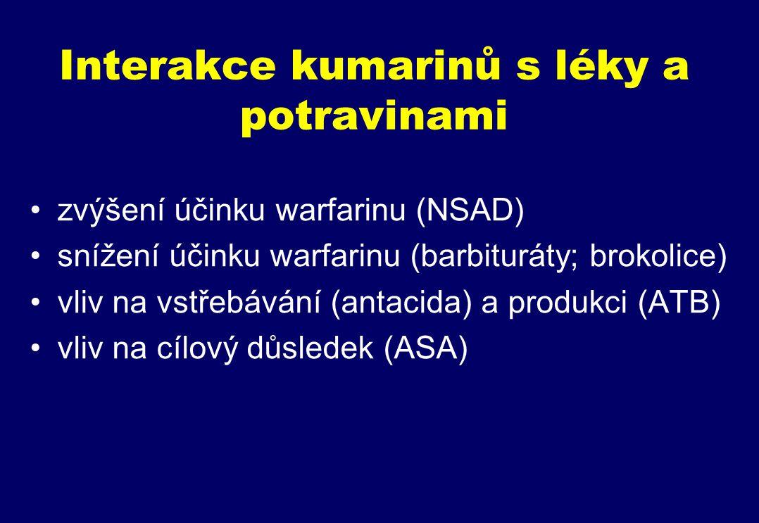 Interakce kumarinů s léky a potravinami zvýšení účinku warfarinu (NSAD) snížení účinku warfarinu (barbituráty; brokolice) vliv na vstřebávání (antacida) a produkci (ATB) vliv na cílový důsledek (ASA)