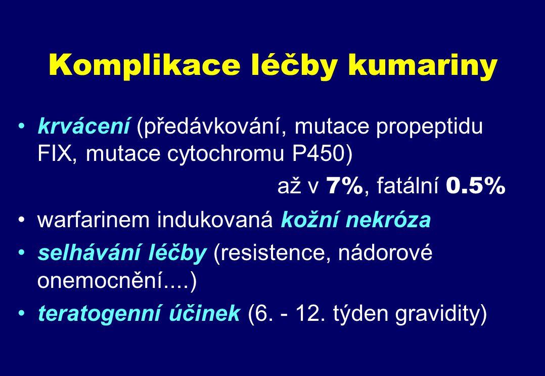 Komplikace léčby kumariny krvácení (předávkování, mutace propeptidu FIX, mutace cytochromu P450) až v 7%, fatální 0.5% warfarinem indukovaná kožní nekróza selhávání léčby (resistence, nádorové onemocnění....) teratogenní účinek (6.