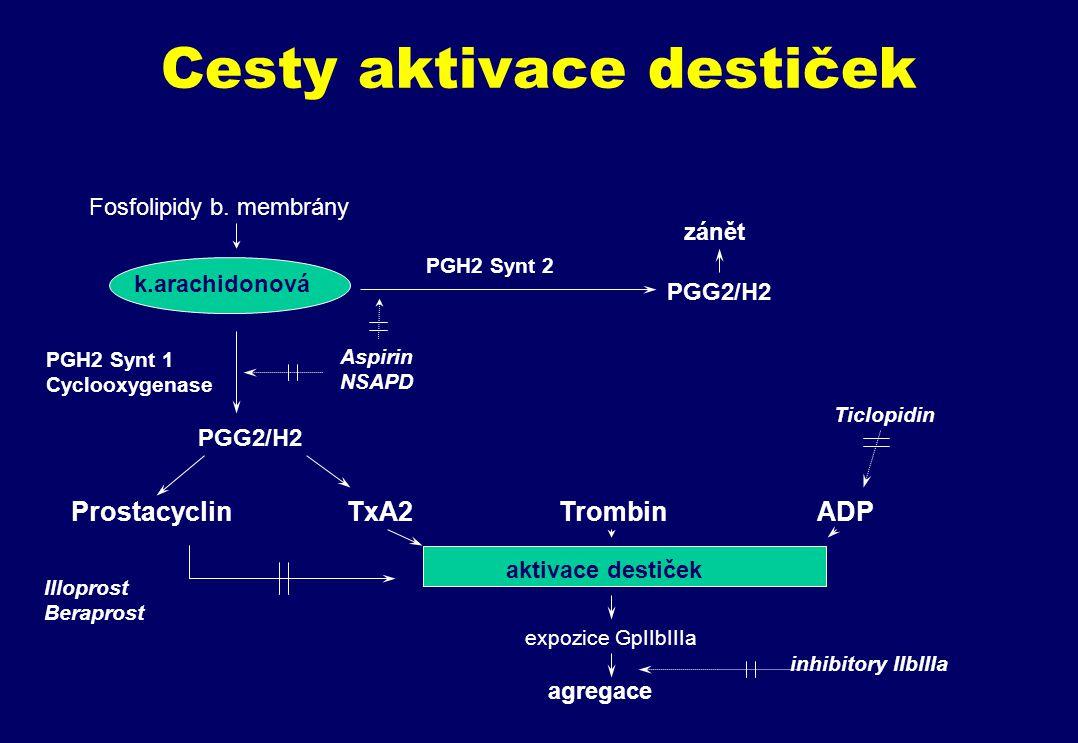 Cesty aktivace destiček Fosfolipidy b.