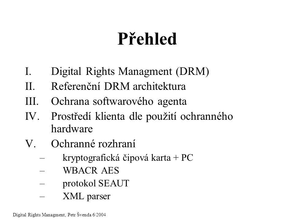 Přehled I.Digital Rights Managment (DRM) II.Referenční DRM architektura III.Ochrana softwarového agenta IV.Prostředí klienta dle použití ochranného ha