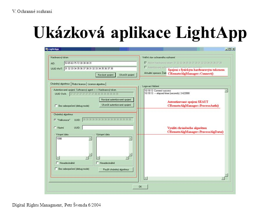 Ukázková aplikace LightApp V. Ochranné rozhraní Digital Rights Managment, Petr Švenda 6/2004