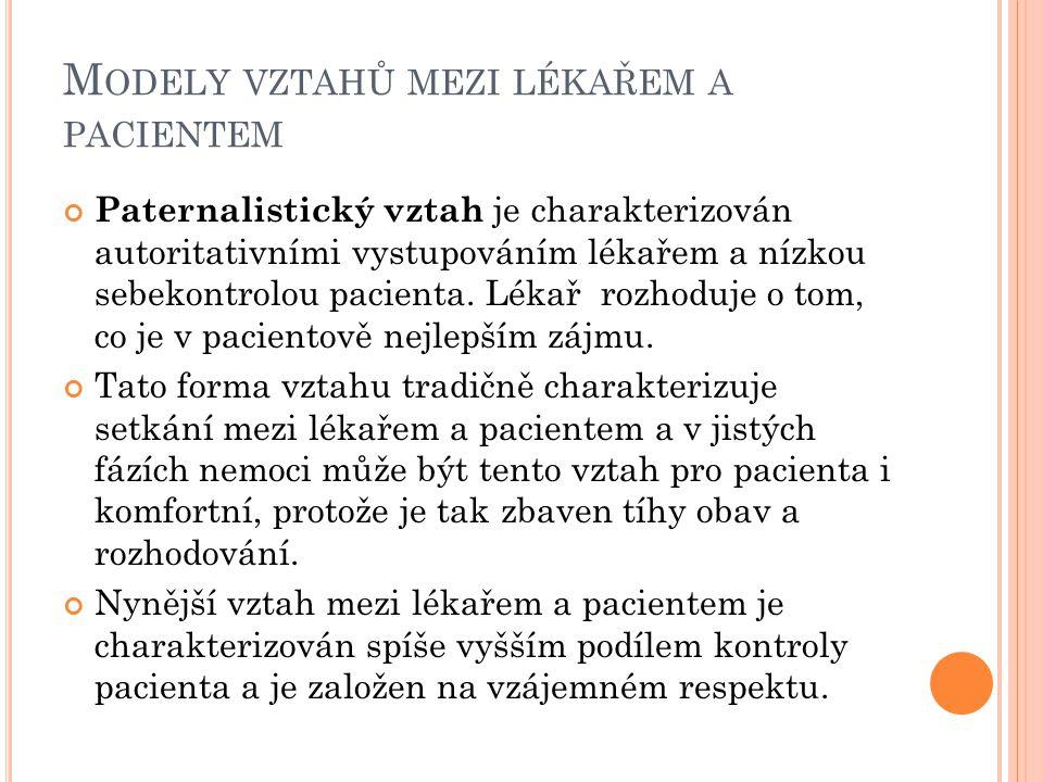M ODELY VZTAHŮ MEZI LÉKAŘEM A PACIENTEM Paternalistický vztah je charakterizován autoritativními vystupováním lékařem a nízkou sebekontrolou pacienta.