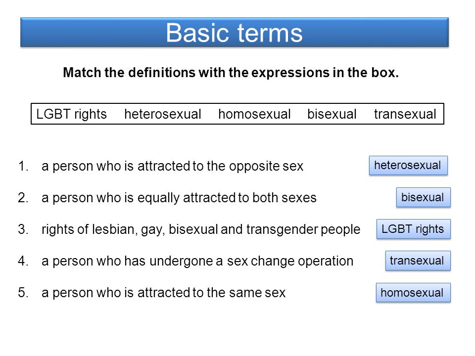 Basic terms Match the definitions with the expressions in the box.