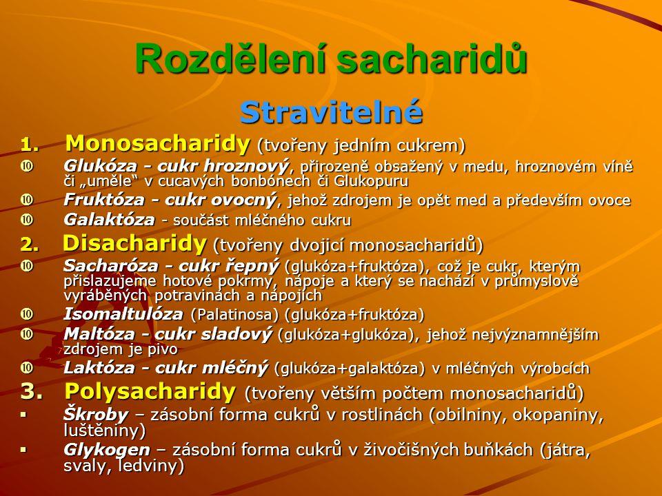 Rozdělení sacharidů Stravitelné 1.