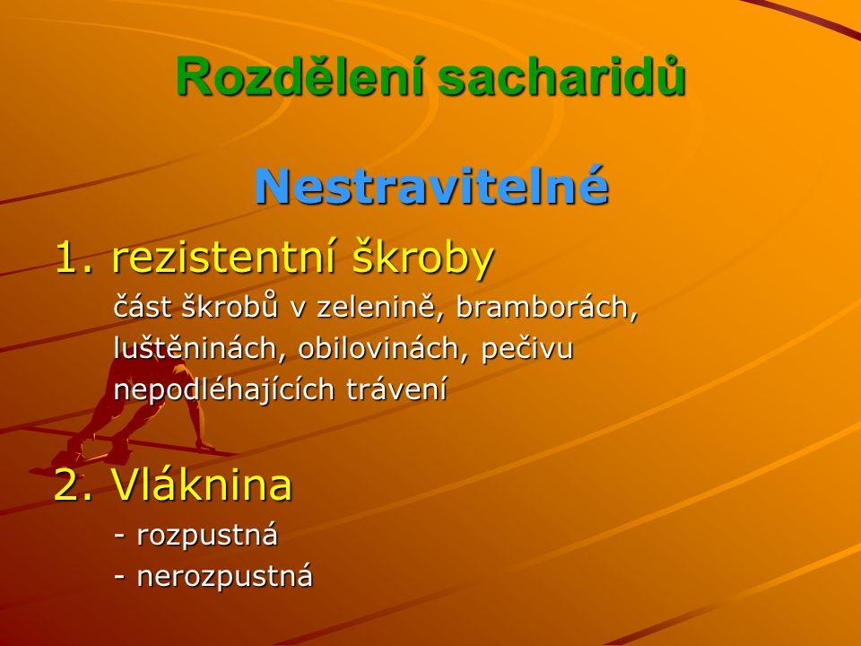 Rozdělení sacharidů Nestravitelné 1.