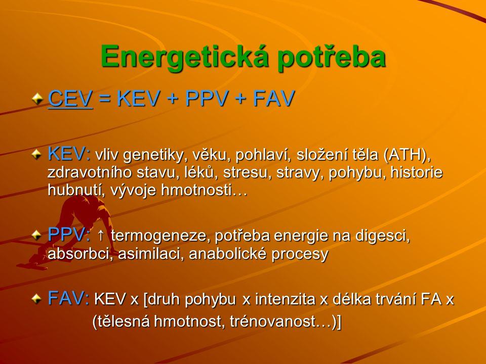 Energetická potřeba CEV = KEV + PPV + FAV KEV: vliv genetiky, věku, pohlaví, složení těla (ATH), zdravotního stavu, léků, stresu, stravy, pohybu, historie hubnutí, vývoje hmotnosti… PPV: ↑ termogeneze, potřeba energie na digesci, absorbci, asimilaci, anabolické procesy FAV: KEV x [ druh pohybu x intenzita x délka trvání FA x (tělesná hmotnost, trénovanost…)] (tělesná hmotnost, trénovanost…)]