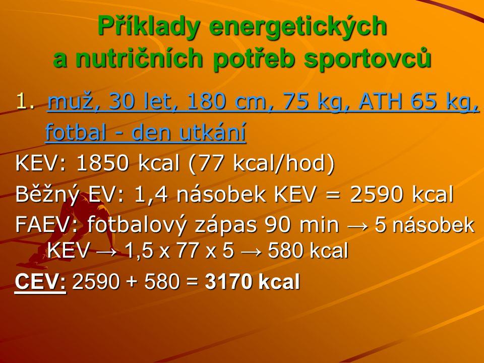 Příklady energetických a nutričních potřeb sportovců 1.muž, 30 let, 180 cm, 75 kg, ATH 65 kg, fotbal - den utkání fotbal - den utkání CEV: 3170 kcal = CEP Potřeba živin: Bílkoviny: 1,5 g / 1 kg ATH = 98 g x 4 kcal = 392 kcal (12,4% CEP) (12,4% CEP) Tuky: 1,2 g / 1 kg ATH = 78 g x 9 kcal = 702 kcal (22,1% CEP) Sacharidy: 3170 – 392 – 702 = 2076 kcal / 4 kcal = 519 g (8,0 g / 1 kg ATH), (65,5% CEP) (8,0 g / 1 kg ATH), (65,5% CEP)
