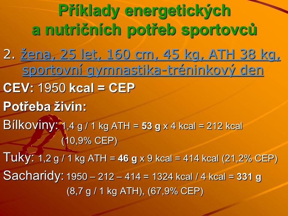 Sacharidy …uhlohydráty, karbohydráty, glycidy, uhlovodany, cukry, škrobyVýznam Nejčastější zdroj energie – 1 g S = 4 kcal (17 kJ) Hlavní dodavatel energie u rychlostních, silových, ale i vytrvalostních disciplín ale i vytrvalostních disciplín Nepostradatelné palivo pro některé buňky v těle Doplňování glykogenových zásob před a po fyzickém výkonu Ochránce tělesných bílkovin Účast při výstavbě a činnosti tkání Regulační funkce vlákniny
