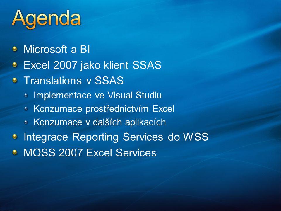 Microsoft a BI Excel 2007 jako klient SSAS Translations v SSAS Implementace ve Visual Studiu Konzumace prostřednictvím Excel Konzumace v dalších aplikacích Integrace Reporting Services do WSS MOSS 2007 Excel Services