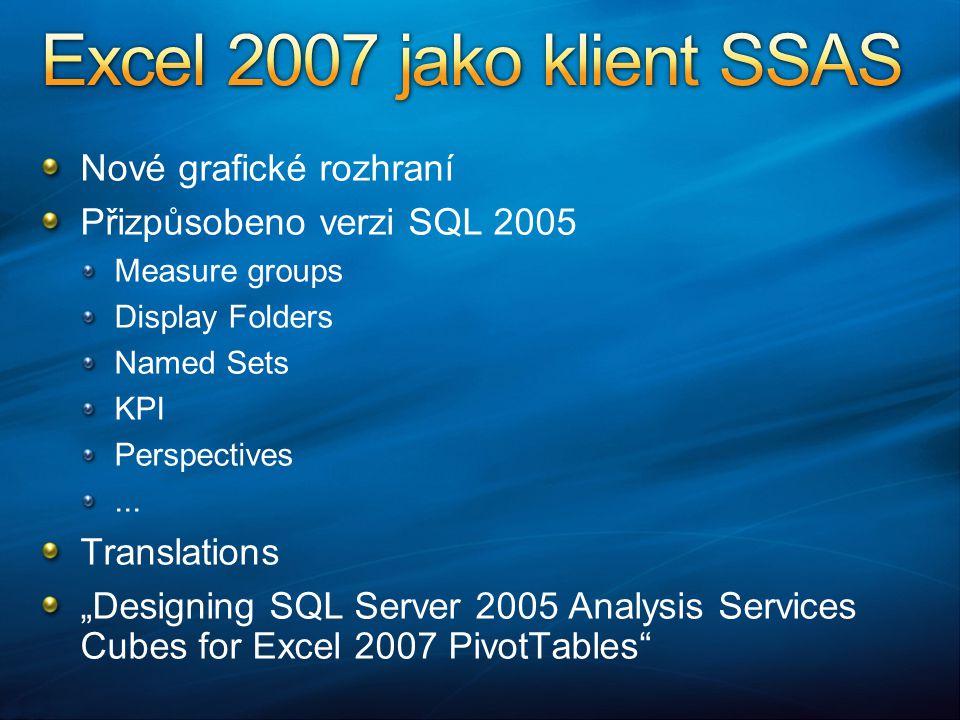 Nové grafické rozhraní Přizpůsobeno verzi SQL 2005 Measure groups Display Folders Named Sets KPI Perspectives...