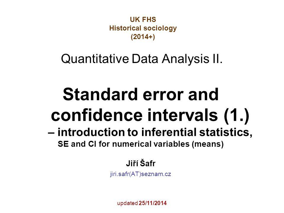 2 Content Logika měření ve výběrových šetřeních: chyby měření Principy inferenční statistiky a intervalového odhadu Co předchází výpočtu intervalu spolehlivosti: 1.