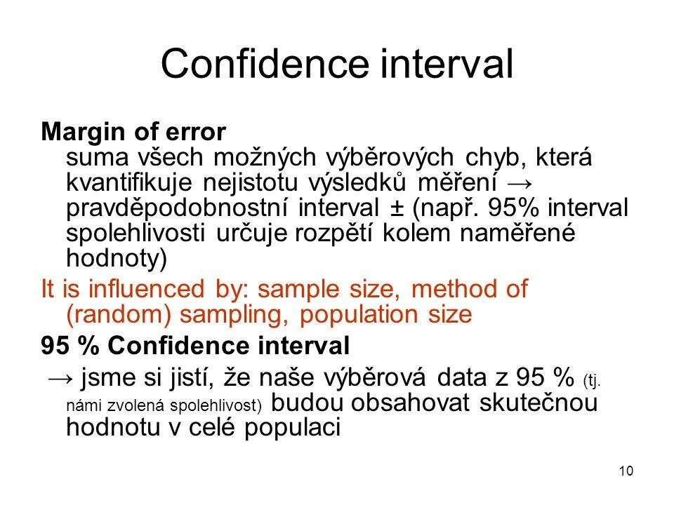 10 Confidence interval Margin of error suma všech možných výběrových chyb, která kvantifikuje nejistotu výsledků měření → pravděpodobnostní interval ±