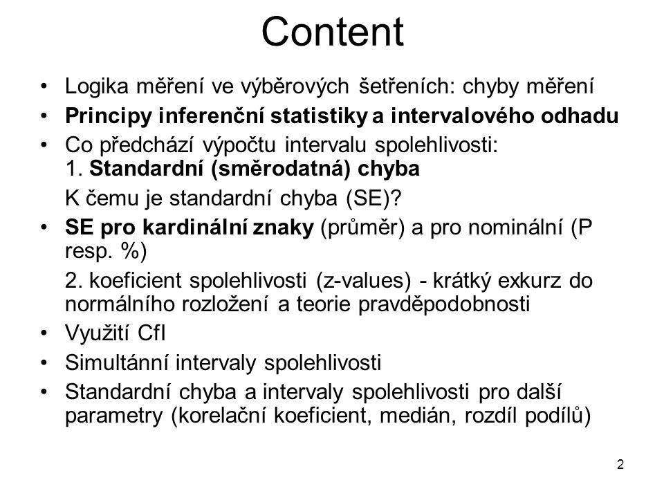 2 Content Logika měření ve výběrových šetřeních: chyby měření Principy inferenční statistiky a intervalového odhadu Co předchází výpočtu intervalu spo