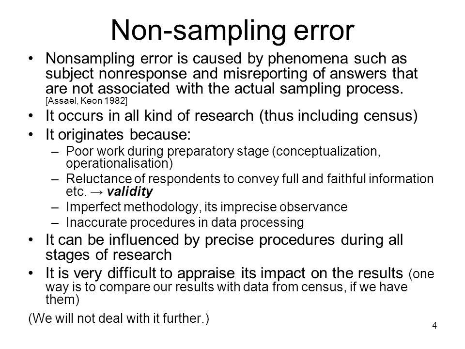 5 Sampling Error Population → sample → population Vybírá se náhodně (bez vracení) pouze jeden výběrový soubor a údaje z něho reprezentují základní soubor (populaci).