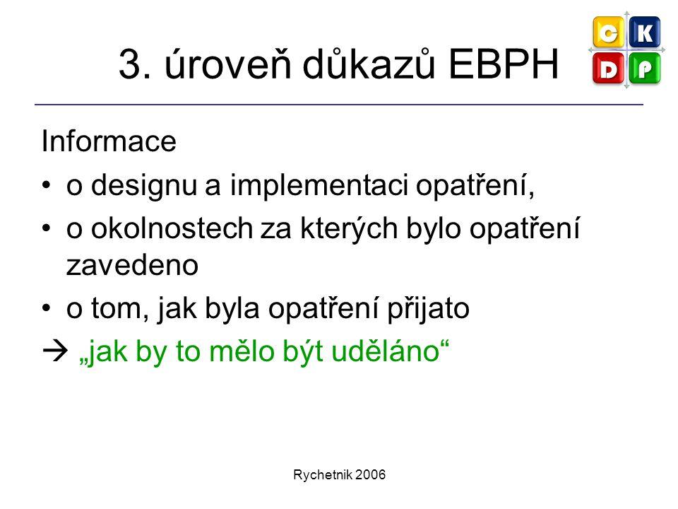 Rychetnik 2006 3. úroveň důkazů EBPH Informace o designu a implementaci opatření, o okolnostech za kterých bylo opatření zavedeno o tom, jak byla opat