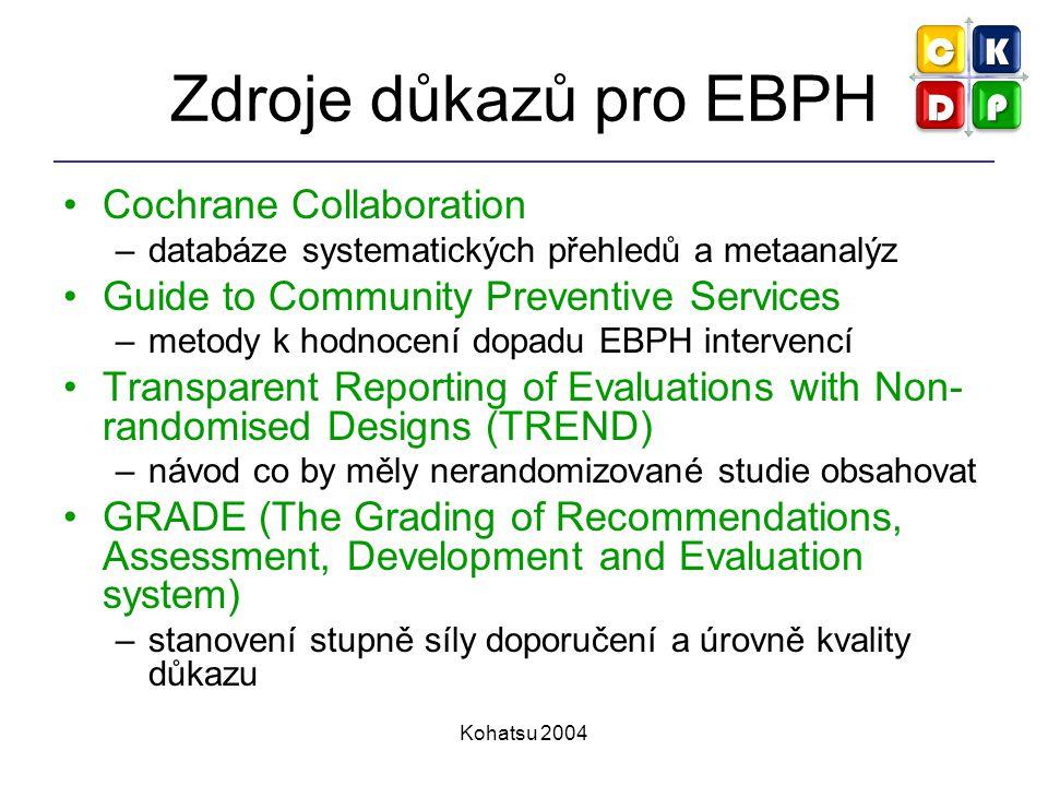 Kohatsu 2004 Zdroje důkazů pro EBPH Cochrane Collaboration –databáze systematických přehledů a metaanalýz Guide to Community Preventive Services –meto