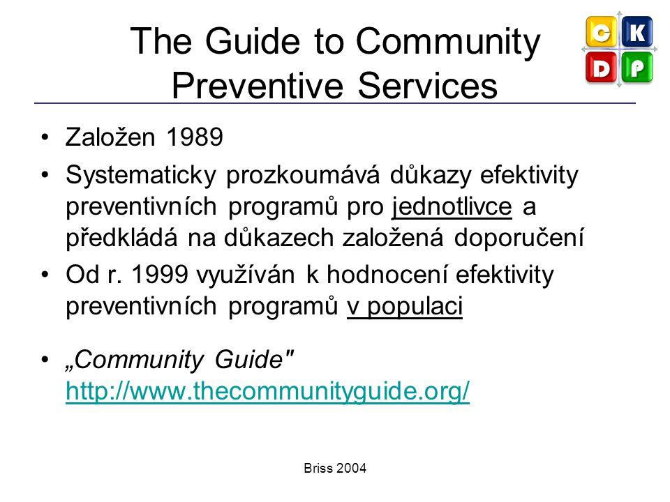 Briss 2004 The Guide to Community Preventive Services Založen 1989 Systematicky prozkoumává důkazy efektivity preventivních programů pro jednotlivce a