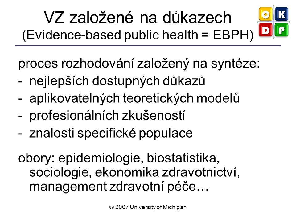 © 2007 University of Michigan VZ založené na důkazech (Evidence-based public health = EBPH) proces rozhodování založený na syntéze: -nejlepších dostup