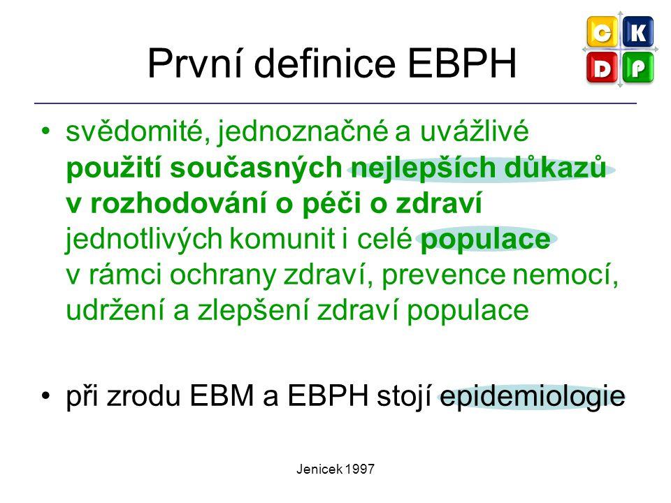 Jenicek 1997 První definice EBPH svědomité, jednoznačné a uvážlivé použití současných nejlepších důkazů v rozhodování o péči o zdraví jednotlivých kom
