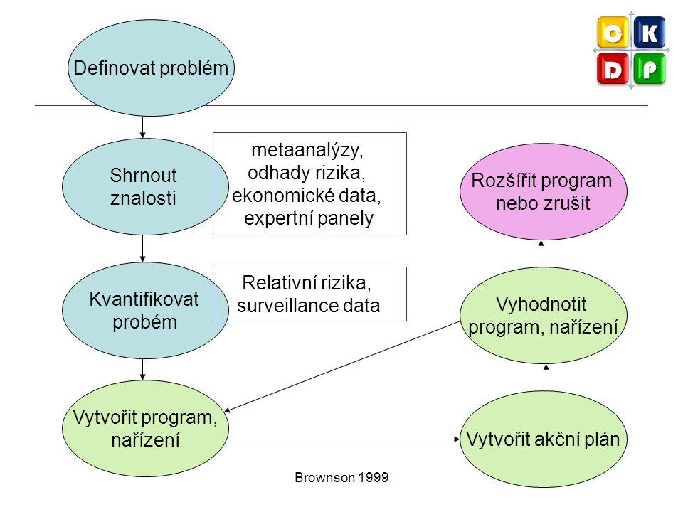 Brownson 1999 Definovat problém Shrnout znalosti Kvantifikovat probém Vytvořit program, nařízení Vytvořit akční plán Vyhodnotit program, nařízení meta
