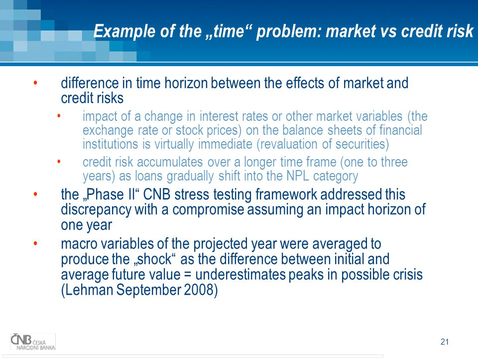 "21 difference in time horizon between the effects of market and credit risks impact of a change in interest rates or other market variables (the exchange rate or stock prices) on the balance sheets of financial institutions is virtually immediate (revaluation of securities) credit risk accumulates over a longer time frame (one to three years) as loans gradually shift into the NPL category the ""Phase II CNB stress testing framework addressed this discrepancy with a compromise assuming an impact horizon of one year macro variables of the projected year were averaged to produce the ""shock as the difference between initial and average future value = underestimates peaks in possible crisis (Lehman September 2008) Example of the ""time problem: market vs credit risk"