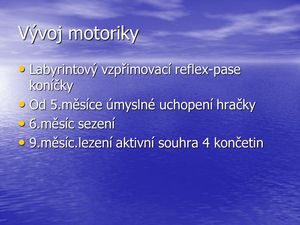 Vývoj motoriky Labyrintový vzpřimovací reflex-pase koníčky Labyrintový vzpřimovací reflex-pase koníčky Od 5.měsíce úmyslné uchopení hračky Od 5.měsíce úmyslné uchopení hračky 6.měsíc sezení 6.měsíc sezení 9.měsíc.lezení aktivní souhra 4 končetin 9.měsíc.lezení aktivní souhra 4 končetin