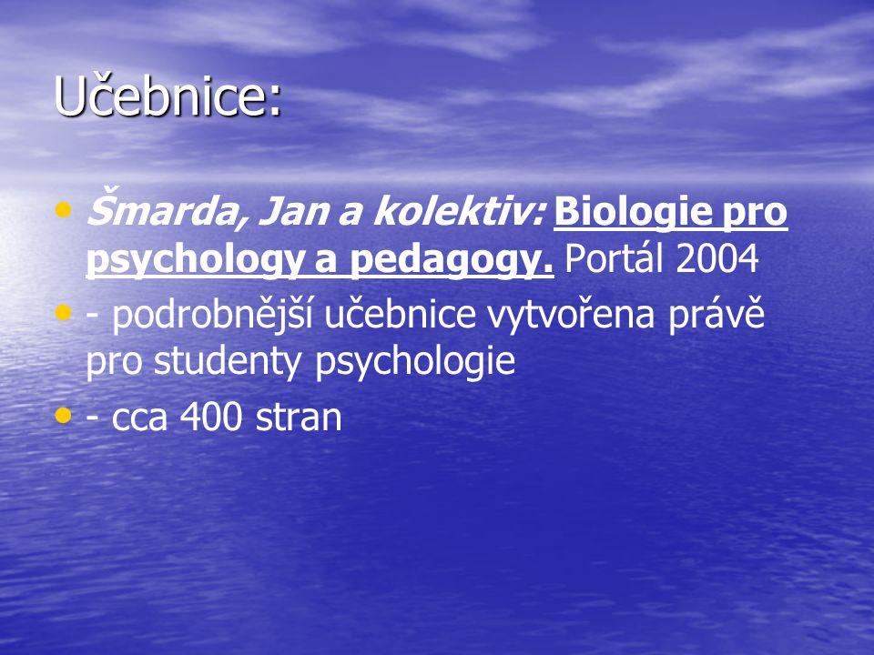 Učebnice: Šmarda, Jan a kolektiv: Biologie pro psychology a pedagogy.
