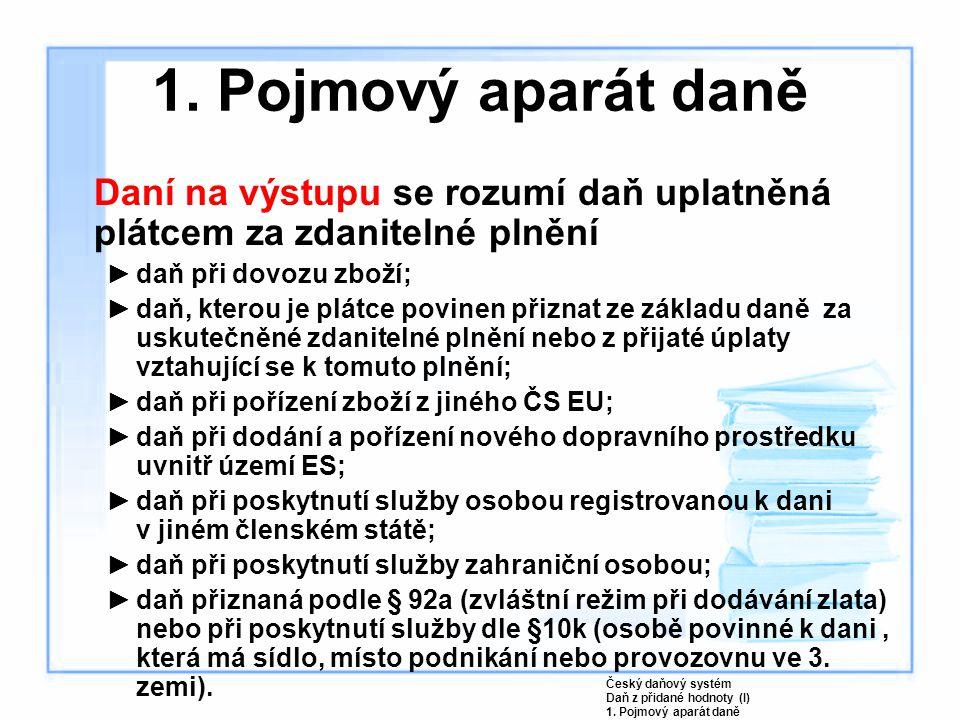 Český daňový systém Daň z přidané hodnoty (I) 4. Daňové doklady
