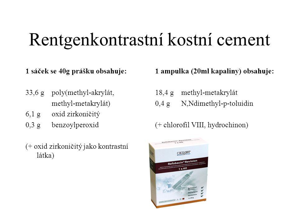 Rentgenkontrastní kostní cement 1 sáček se 40g prášku obsahuje: 33,6 g poly(methyl-akrylát, methyl-metakrylát) 6,1 g oxid zirkoničitý 0,3 g benzoylper