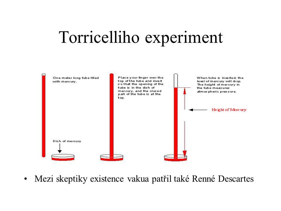 Torricelliho experiment Mezi skeptiky existence vakua patřil také Renné Descartes