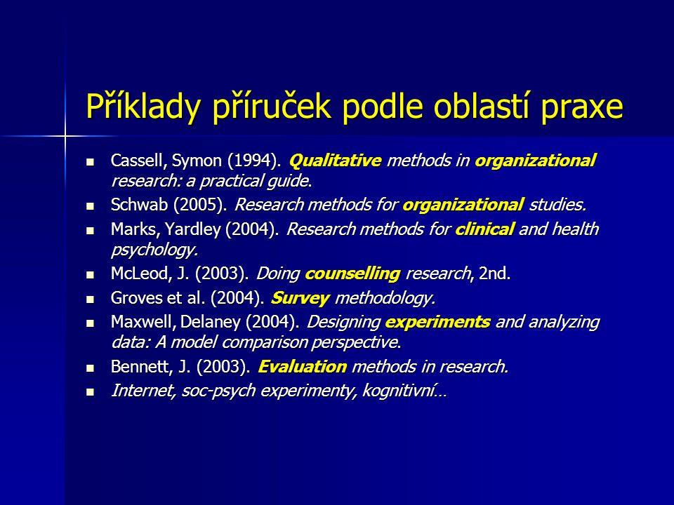 Příklady příruček podle oblastí praxe Cassell, Symon (1994).