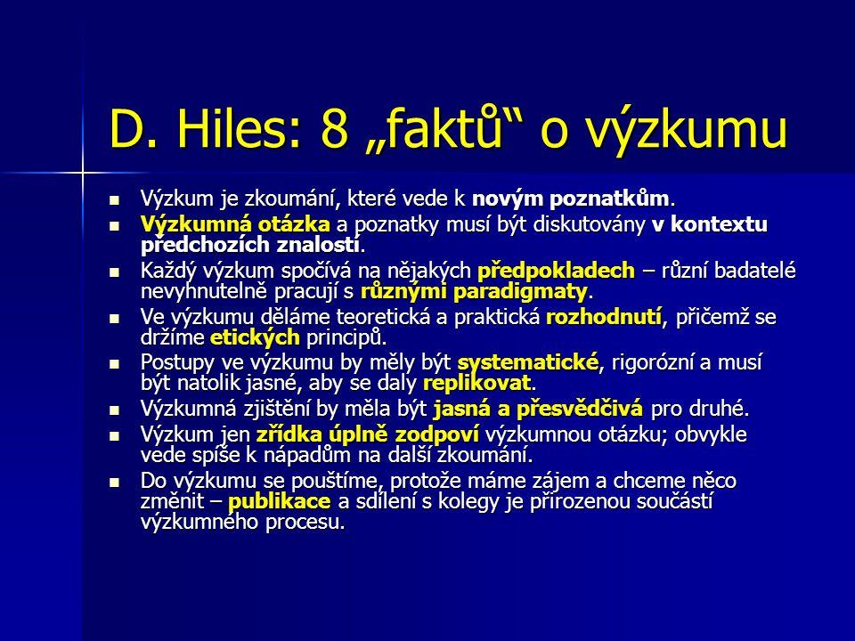 """D. Hiles: 8 """"faktů o výzkumu Výzkum je zkoumání, které vede k novým poznatkům."""