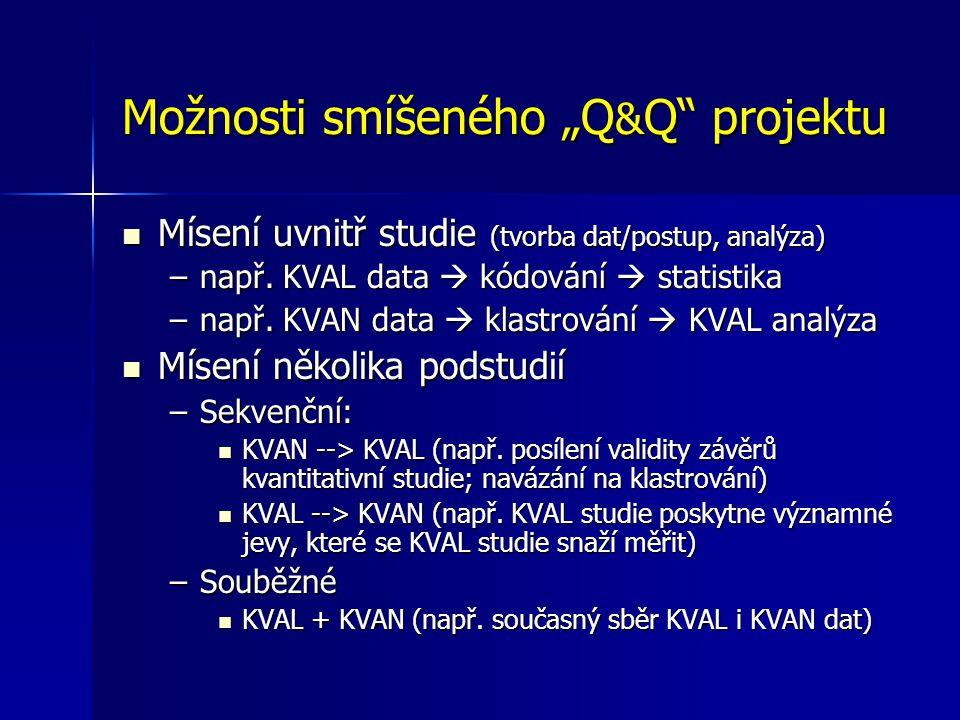 """Možnosti smíšeného """"Q & Q projektu Mísení uvnitř studie (tvorba dat/postup, analýza) Mísení uvnitř studie (tvorba dat/postup, analýza) –např."""