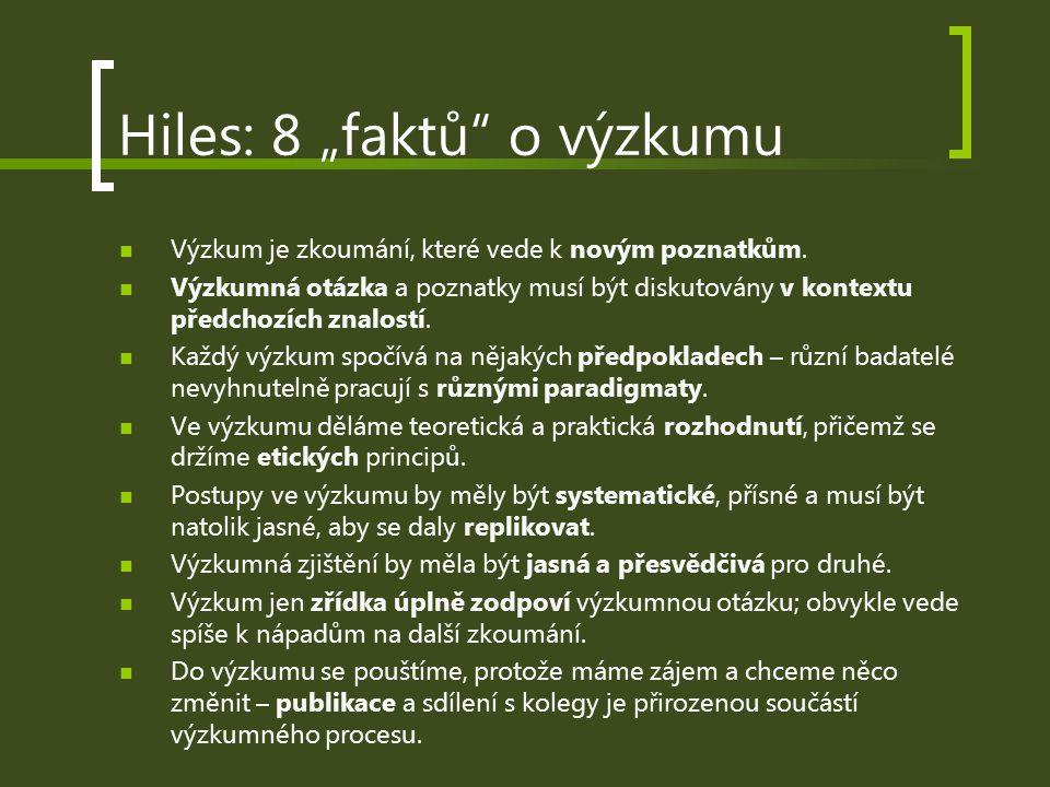 """Hiles: 8 """"faktů o výzkumu Výzkum je zkoumání, které vede k novým poznatkům."""