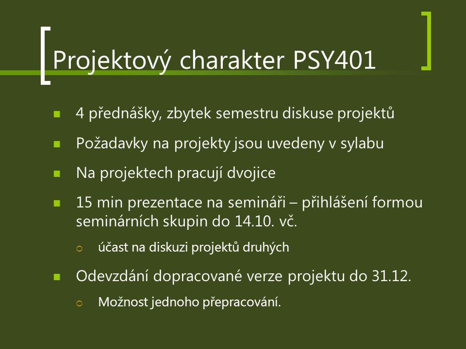 Projektový charakter PSY401 4 přednášky, zbytek semestru diskuse projektů Požadavky na projekty jsou uvedeny v sylabu Na projektech pracují dvojice 15 min prezentace na semináři – přihlášení formou seminárních skupin do 14.10.