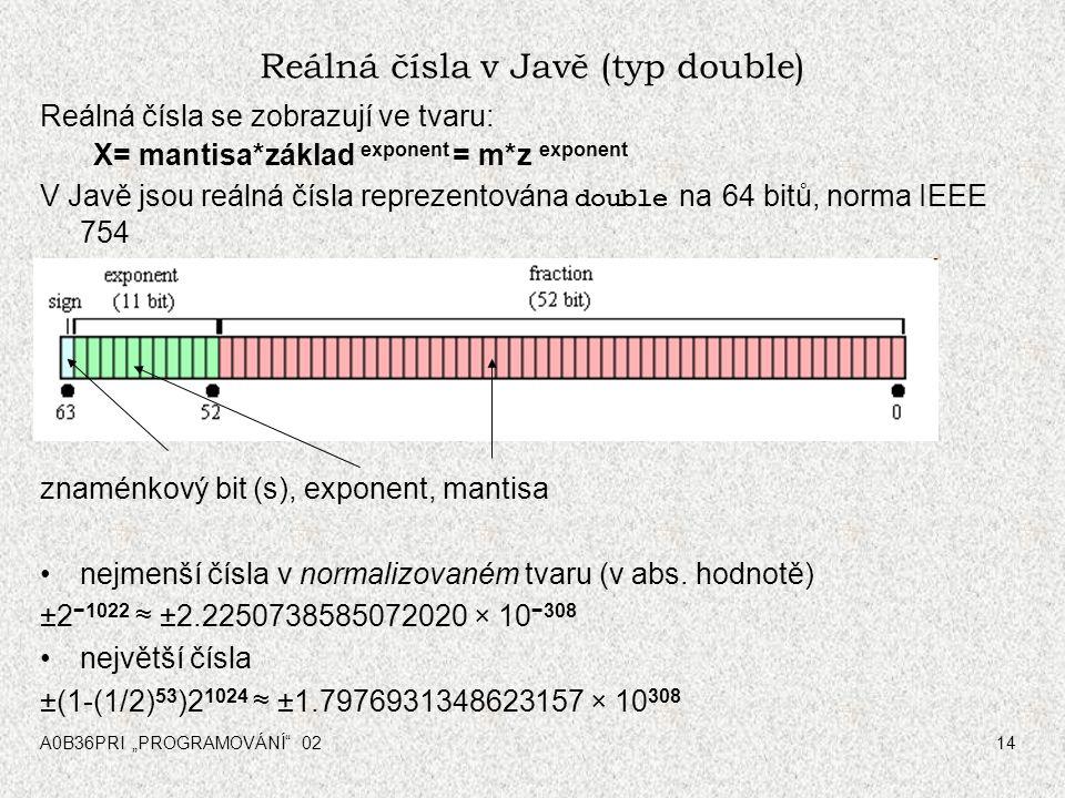 """A0B36PRI """"PROGRAMOVÁNÍ 0214 Reálná čísla v Javě (typ double) Reálná čísla se zobrazují ve tvaru: X= mantisa*základ exponent = m*z exponent V Javě jsou reálná čísla reprezentována double na 64 bitů, norma IEEE 754 znaménkový bit (s), exponent, mantisa nejmenší čísla v normalizovaném tvaru (v abs."""