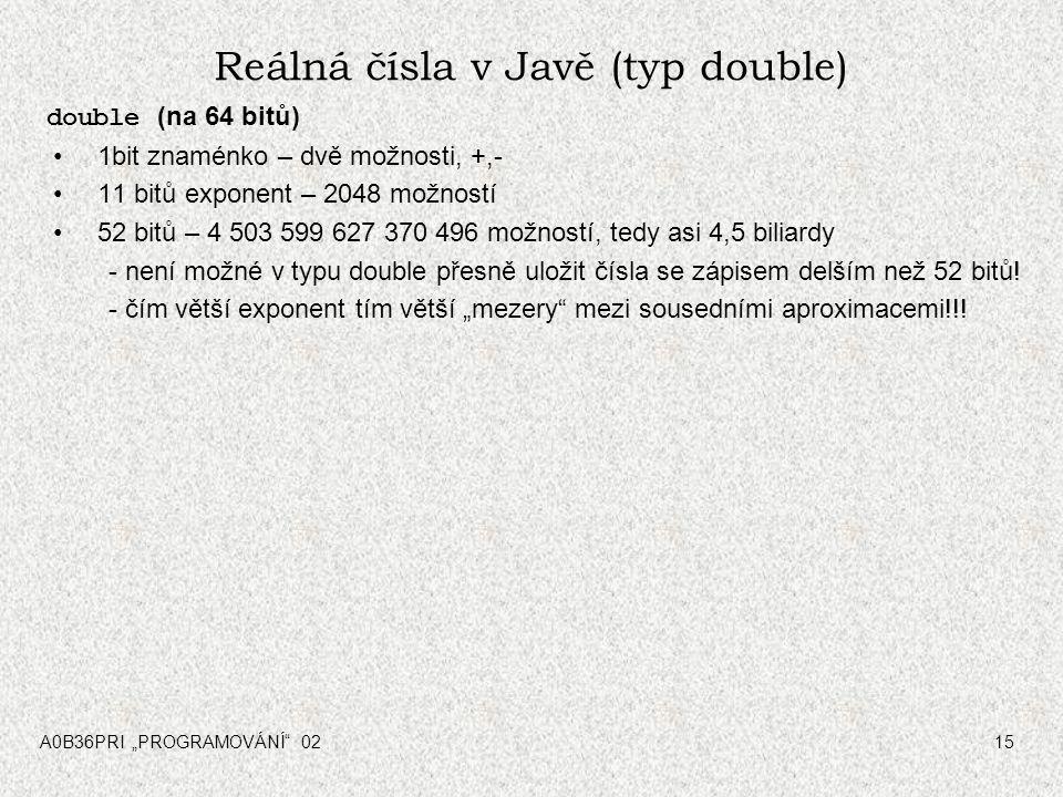 Reálná čísla v Javě (typ double) double (na 64 bitů) 1bit znaménko – dvě možnosti, +,- 11 bitů exponent – 2048 možností 52 bitů – 4 503 599 627 370 496 možností, tedy asi 4,5 biliardy - není možné v typu double přesně uložit čísla se zápisem delším než 52 bitů.