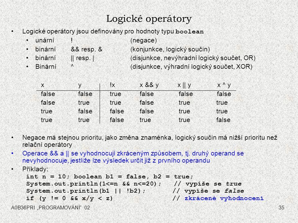 """A0B36PRI """"PROGRAMOVÁNÍ 0235 Logické operátory Logické operátory jsou definovány pro hodnoty typu boolean unární ."""