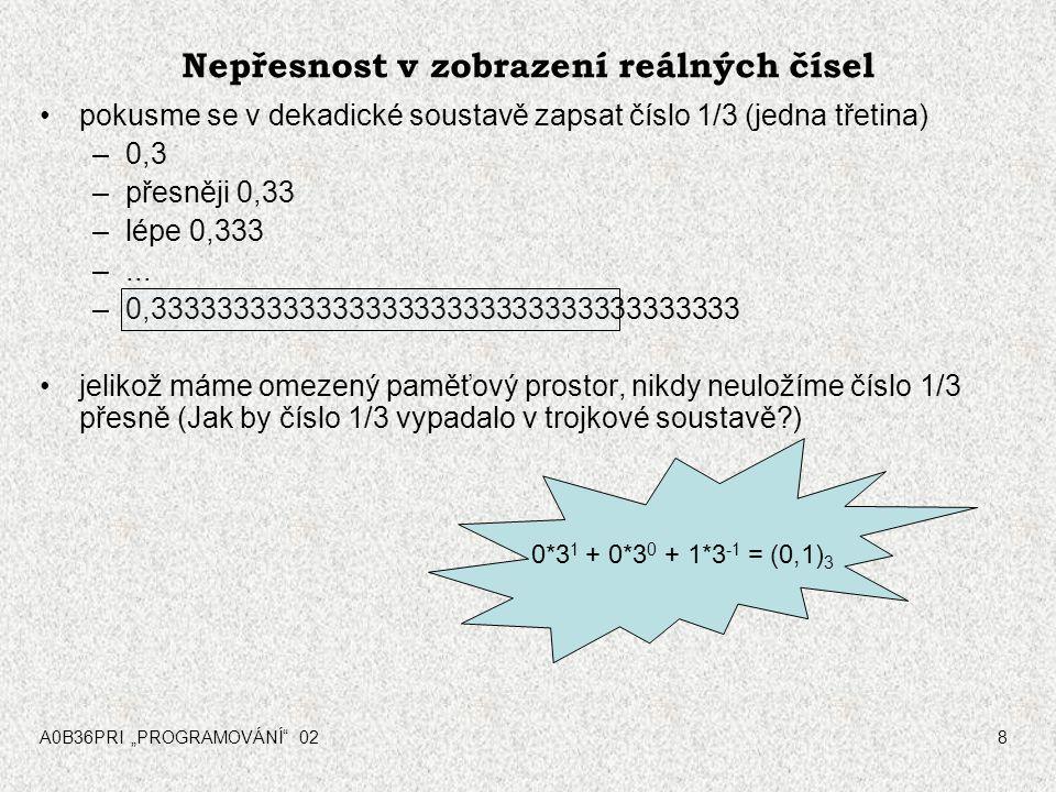 """A0B36PRI """"PROGRAMOVÁNÍ 028 Nepřesnost v zobrazení reálných čísel pokusme se v dekadické soustavě zapsat číslo 1/3 (jedna třetina) –0,3 –přesněji 0,33 –lépe 0,333 –..."""